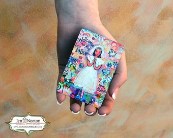 First Communion Gift, Girl in Pink, Our Father Prayer Card, wallet-sized waterproof aluminum
