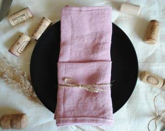 Table Napkin Set of 2, 100% Stonewashed Linen, Pink.