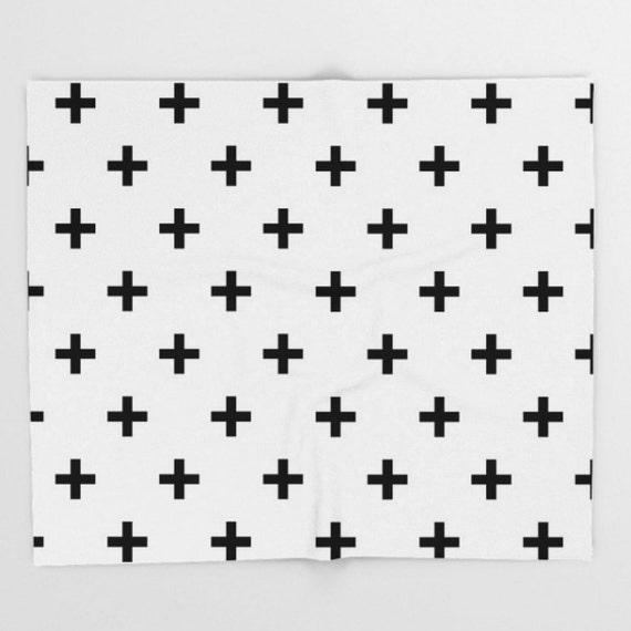 Suiza Cruz blanco negro tiro manta patrón bebé guardería niños