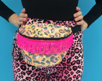 Shiny Orange/Pink Leopard Print Fringe Bum Bag/Festival Bag