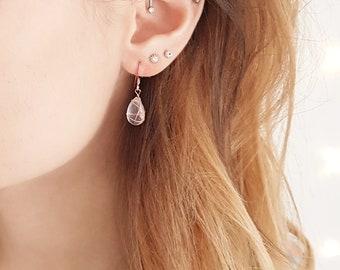 Semi-precious wire-wrapped rose quartz briolette drop earrings, teardrop earrings, everyday earrings, elegant earrings, minimalist earrings