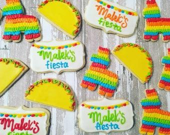 1 dozen taco fiesta birthday theme cookies!