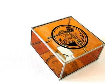70s vintage aries glass box, zodiac sign, amber glass, mirror, keepsake jewelry box, astrology, ram