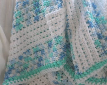 Baby blanket, blue stripe baby boy afghan