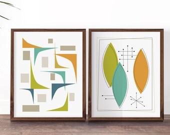 Art Set Mid Century, Retro Decor Ideas, Art Prints, Mid Mod Decor, Midcentury Atomic, Retro Art Posters, Retro Decor Kitchen, Mid Century