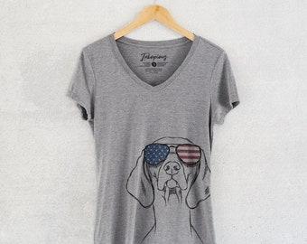 Sawyer the Vizsla - American Flag Aviators - Women's Relaxed Fit V-neck Grey