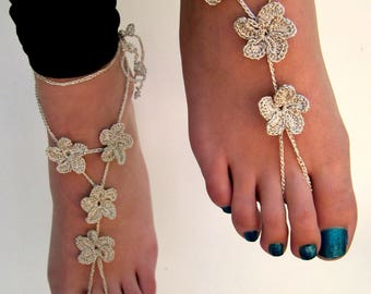 Crochet Barefoot Sandals, Silver barefoot sandles, foot jewelry, Beach wedding, Bridesmaid gift, Beach, anklet, summer shoes, wedding shoes