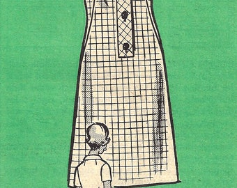 1960s Dress Pattern Mail Order Half Size Front Button Band Vintage Sewing Women's Misses Size 12. 5 Bust 33 Inches