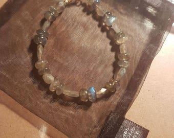 Labradorite faceted ovals and Plain Rondelle Gold Plated 925 Sterling Silver bracelet.