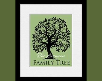Family Tree Room Decor, Personalized Family Tree, Family Tree Wall Art Print, Family Members Tree, Name and Birthdates Family Tree