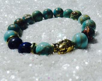 Turquoise Lapis Lazuli Gold Buddha Stretch Bracelet