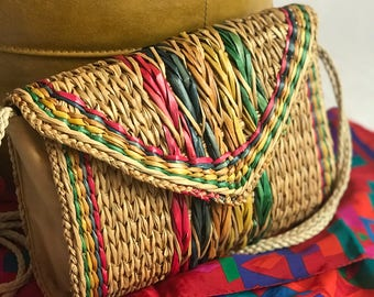 Vintage Rainbow Straw Crossbody/ Multi Color Raffia/ Woven/ Bag/ Tote/ Bohemian