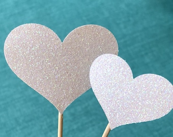 120 Heart Cupcake Toppers Sparkling Ivory HEARTS Wedding Cake Decorations Food Picks Appetizers