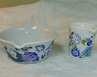 Figgio Norway Lotte Pattern, 2 Pieces, Creamer and Sauce Bowl, 1970s Blue Green White