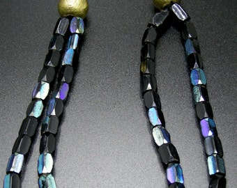 African Trade Bead Necklace With Brass Chain
