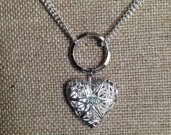 Heart Diffuser Locket- Silver Filigree heart -Diffuser Necklace-with double chains-Comes with Leather Pads-Aromatherapy