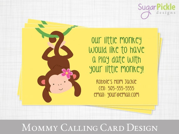 Play date calling card monkey design kids calling card like this item reheart Gallery