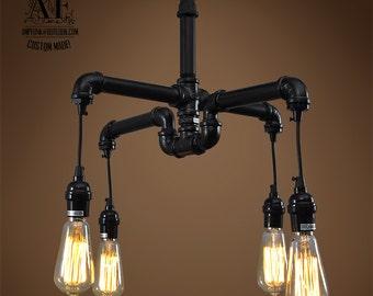 industrial pipe lighting. Industrial Iron Pipe Light Edison Chandelier Vintage Industrial, Antique Bulb, Lamp, Rustic Lighting ,