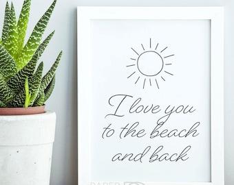 PRINTABLE ART, minimalist wall art, I Love You, line drawing, minimalist decor, kids room decor, printable quotes, printable beach art