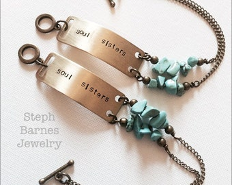 Set of soul sisters bracelets with turquoise accent in bronze