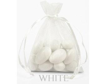 10 White Organza Bags, 6 x 9 Inch Sheer Fabric White Favor Bags