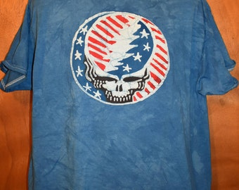 Grateful Dead Steal Your Face Wave That Flag US Blues  Handmade Batik T-Shirt, Uncle Sam, USA, Grateful Dead shirt