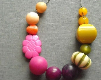 RESERVED for Violette - rhubarb necklace - vintage lucite and gunmetal