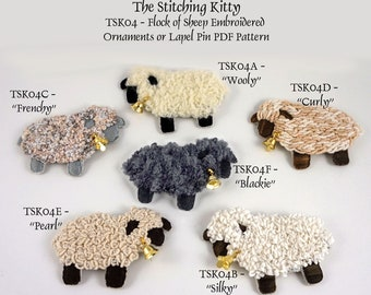 TSK04PSET - A Flock Of Sheep Embroidery Patterns - Set of 6 Tutorials