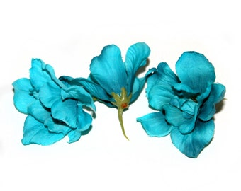 3 Turquoise Silk Delphinium Blossoms - 3 layers - Artificial Flowers, Silk Flowers