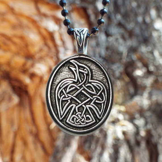 Raven necklace celtic raven pendant in fine pewter aloadofball Choice Image