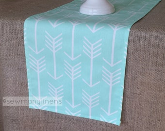 Mint Green Arrow Table Runner Table Centerpiece Dining Room Kitchen Home Decor Table Linens Pastel Runner