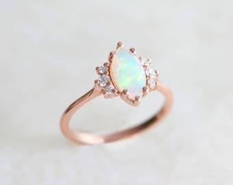 Opal Engagement Ring, Marquise Engagement Ring, Fire Opal Ring, Opal Diamond Ring, Fire Opal Diamond Ring, Opal Prong Ring, MinimalVS, Ring