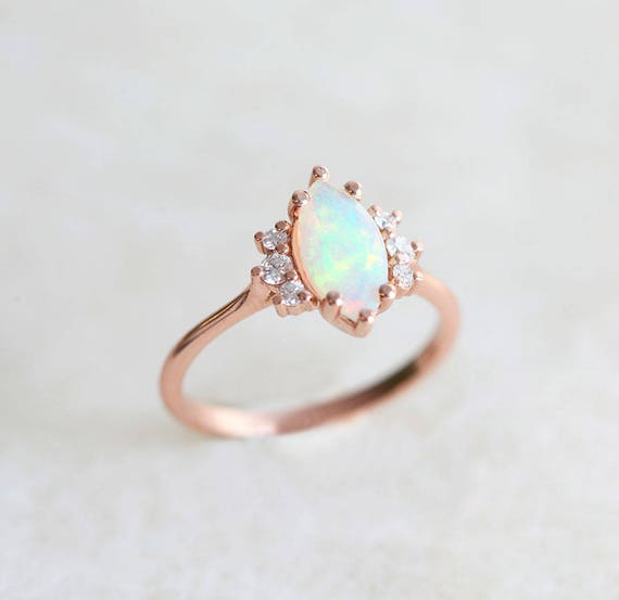 Opal Engagement Ring Marquise Engagement Ring Fire Opal