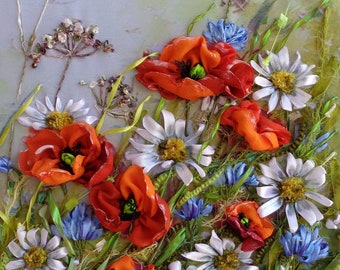 """Ribbon embroidery picture """"Wildflowers 2 """" Silk ribbon embroidery embroidered landscape ribbon work, 3D picture, ribbon embroidery sell"""