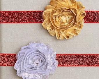 Christmas Headband Set, Red Glittery Headbands, Gold Headband, Silver Headband, Baby Christmas Headbands, Girls Christmas Headband Set