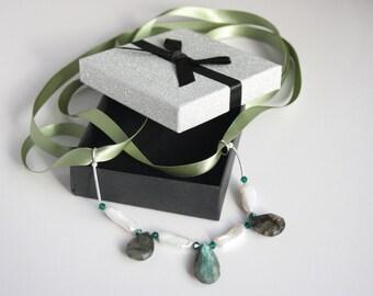 Labradorite, Swarovski crystal emerald bicone beads, white freshwater cultured pearls necklace