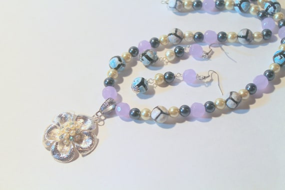 JKCE Designs Handmade Beaded Necklace & Earring Set - Silver Flower Pendant with Blue and Purple Beading