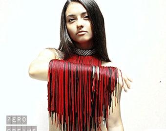 Red Fringe Collar Choker, Fringe Necklace, Fringe Jewelry, Necklaces for Dancers
