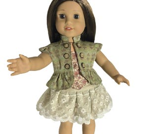 """Trendy 3-Piece Outfit/ Cap Sleeve Jacket, Corset and Skirt/ Fits 18"""" American Doll/ Fully Lined Like a Designer Outfit"""