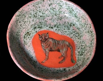 Ceramic bowl, cat lover gift, decorative plate, small bowl, table decor, pottery bowl, animal art, rustic decor, ceramics and pottery