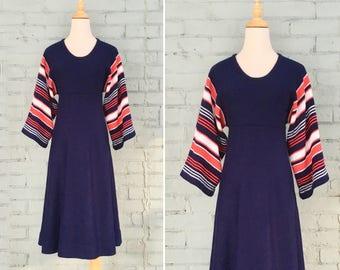 1970s navy knit dress / 70s striped batwing dress / 1970s sweater dress / 70s a-line knit dress