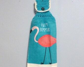 Hanging Kitchen Towel Happy Summer Flamingo Bird Aqua Hot Pink Button Top