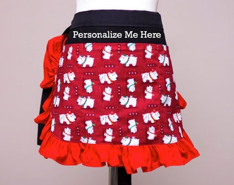 Red Polar Bear Holiday Half Apron with Red Ruffles