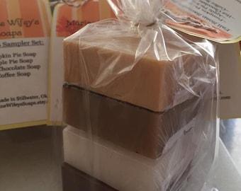 Fall Soap Sampler Set,Pumpkin Pie,Apple Pie,Hot Chocolate,Coffee,Soap,Hands,Body,Face,Fall,Moms,Kids,Gifts,Teachers,Friends,Sampler,Guests