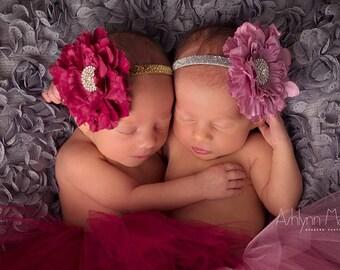 TWIN TUTUS, newborn twin tutus, baby twin tutus and headbands, twin photography prop