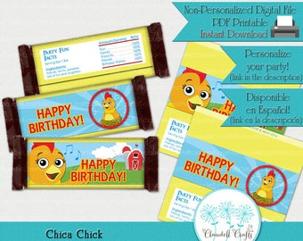 Chica Chick Inspired Printable Candy Bar Wrappers (Hershey Big)