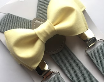 Boys Light Yellow Bow Tie and Suspenders Sets. Adults/Kids
