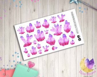 Pink Ombre Crystal Decorative Planner Sticker kit