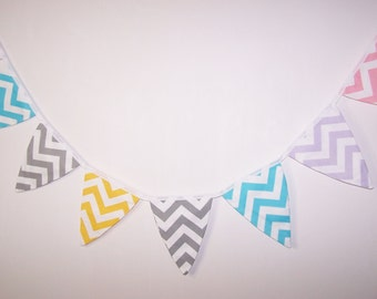 Fabric Bunting. Flags. Banner. Wedding Banner. Party Banner. Baby Shower Bunting. Wedding  Bunting. Chevron Bunting. Ready To Ship
