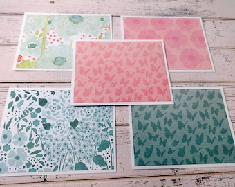 Blank Note Cards, Note Card Set, Blank Cards, Thank You Notes, Stationary, Set of 5 Note Cards with Matching Envelopes, Butterfly Floral